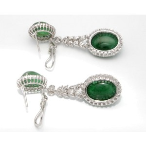18K White Gold Diamond Emerald Drop Earrings