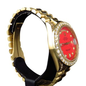 Rolex President 18038 18k Yellow Gold Day-Date Red Diamond Mens 36mm Watch