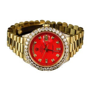 Rolex President 18038 18k Yellow Gold Day-Date Red 6.5 Ct Diamond Mens 36mm Watch