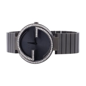 Gucci YA133210 Interlocking Black PVD Stainless Steel Diamond Mens Watch