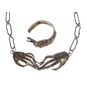 Brutalist Mexican Handmade Hand Necklace Bracelet Set