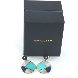 Ippolita 18K Yellow Gold with Lapis, Turquoise and Mother Of Pearl Deco Snowman Earrings