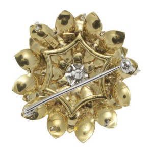 Vintage Cartier 18K Yellow Gold & Diamond Floral Brooch