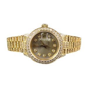 Rolex President Datejust 18k Yellow Gold Diamond Ladies 27 mm Watch