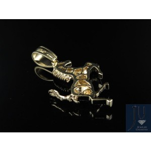 10K Yellow Gold Ferrari Logo Horse Genuine 0.90ct Diamond Pendant Charm