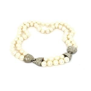 Judith Ripka 18k W/Gold Diamond & Saltwater Pearls Double Strand Choker Necklace