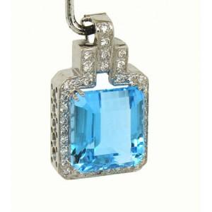 14K White Gold Octagon Shape Blue Topaz & Diamond Pendant