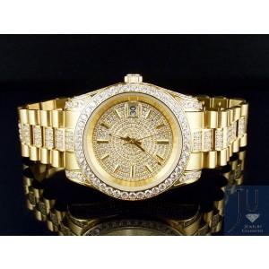 18K Yellow Gold Steel Simulated Diamond Presidential 41MM PR-01 Mens Watch