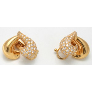Van Cleef 18k Yellow Gold & Diamond Pave Heart Clip On Earrings