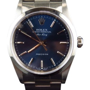 Rolex  14000 Air King Oyster Stainless Steel Blue Dial Mens 34mm Watch