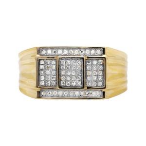 10K Yellow Gold Three Cube Window Composite Genuine Diamond Ring Band