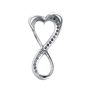 10K White Gold Infinity Heart Brown Geniune Diamond Charm Pendant