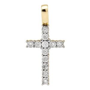"10K Yellow Gold Miracle Set One Row Genuine Diamond 1"" Pendant Charm"