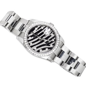Rolex Datejust 36 MM Z Serial Zebra Dial Stainless Steel Diamond Watch