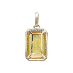 10K Yellow Gold Topaz Diamond Pendant Charm