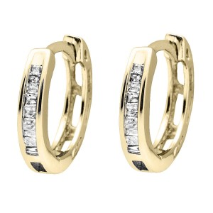 10K Yellow Gold Invisible Set One Row Baguette Cut Diamond Hoop Earring