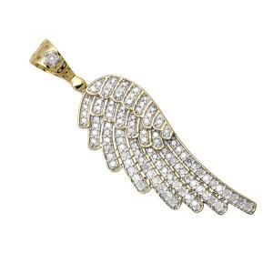 10K Yellow Gold Single Angel Wing Shape Real Diamond Pendant Charm