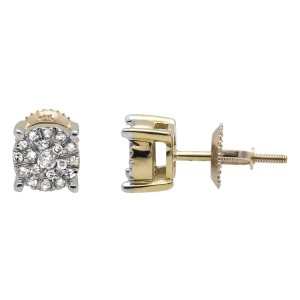 10K Yellow Gold Solitaire Accent Halo Flower Diamond Stud Earring