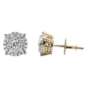 10K Yellow Gold Solitaire Accent Halo Flower Round Diamond Stud Earring