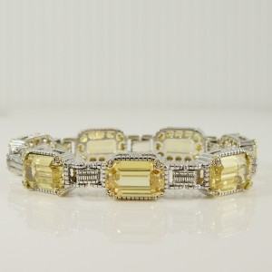 Judith Ripka Roma Sterling Silver Canary Crystal, Diamond Bracelet