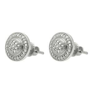 White Gold Finish Sterling Silver Milgrain Frame Halo Genuine Diamond Stud Earring