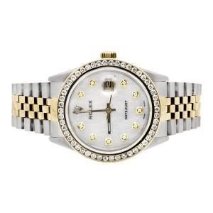 Rolex Datejust 2 Tone 18K Gold 3.00 ct Diamond Steel Jubilee Band 36mm Watch