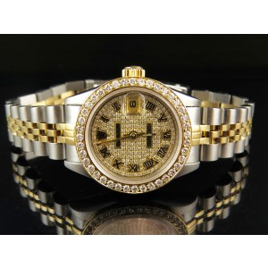 Rolex Datejust Two Tone 18K/Steel 3.25ct Pave Diamond Dial 26mm Watch