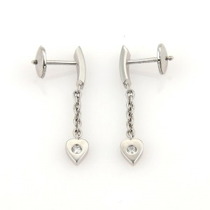 Cartier 18K White Gold Mon Amour Diamond Hearts Drop Dangle Earrings