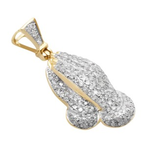 10K Yellow Gold Genuine Diamond Praying Hands Charm Pendant