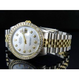 Rolex Datejust 2 Tone 18K Gold Steel Jubilee Band 3.75 ct Diamond Mens 36 mm Watch