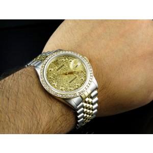 Rolex Datejust 2 Tone 18K Gold Steel Jubilee Band 3.00ct Diamond Mens 36mm Watch