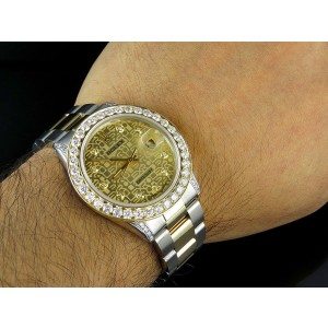 Rolex Datejust 2 Tone 18K Gold Steel Oyster Band 5.25ct Diamond Mens 36mm Watch