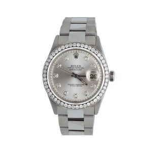 Rolex Datejust Stainless Steel Oyster Silver Dial 2.5 Ct Mens 36mm Watch