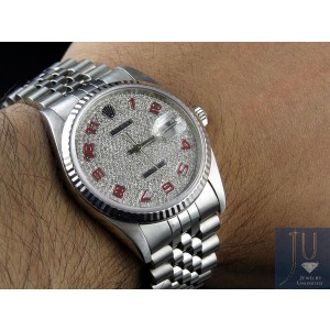 Rolex Datejust 18K/Stainless Steel Jubilee 2.0 Ct Diamond Dial Mens 37mm Watch