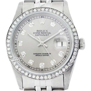 Rolex Datejust 16014 Stainless Steel &18K White Gold Grey Diamond Dial 36mm Mens Watch