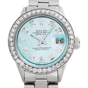 Rolex Oyster Perpetual Datejust Stainless Steel & 18K White Gold Light Blue Diamond Dial Watch