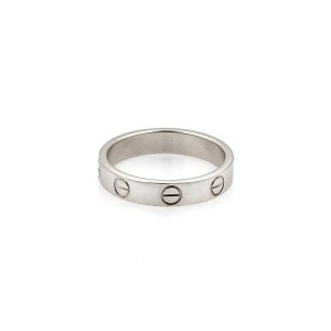 Cartier Mini Love 18K White Gold Band Ring Size 5.50-5.75