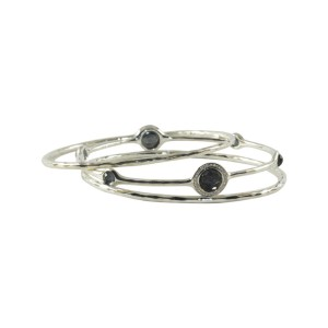 Ippolita Hematite .925 Sterling Silver Diamond Station Bangle Bracelet Trio Set