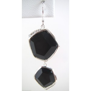 Ippolita 925 Sterling Silver with Black Onyx and 0.16ctw Diamond Drop Dangle Earrings