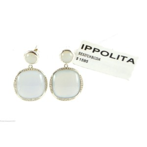 Ippolita 925 Sterling Silver with Chalcedony and 0.33ctw Diamond Post Earrings
