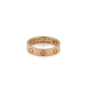 Cartier Mini Love 18K Rose Gold Diamond Band Ring Size 4.5