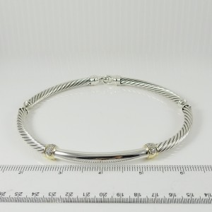 David Yurman Metro Sterling Silver Diamond Necklace