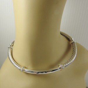 David Yurman Metro Sterling Silver Diamond Necklace
