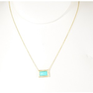 Ippolita 18K Yellow Gold with Turquoise and Diamond Sliding Pendant Necklace