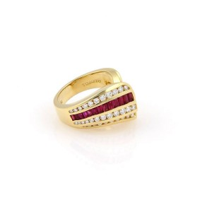 Charles Krypell 18K Yellow Gold with 1.15ct. Diamonds & 1.0ct. Baguette Ruby Cocktail Ring Size 6.5