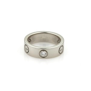 Cartier Love 18K White Gold with 0.15ct Diamond Band Ring Size 4