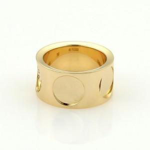 Louis Vuitton Impreinte 18K Yellow Gold Wide Band Ring Size 5