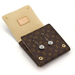 Louis Vuitton 18K White Gold Monogram Gallela Round Dangle Earrings