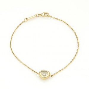 Chopard Happy Diamonds 18K Yellow Gold with 0.05ct Floating Diamond Heart Charm Bracelet