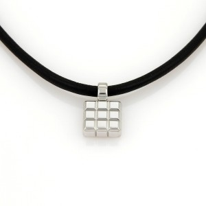 Chopard 18K White Gold & Silk Cord Square Shape Cube Pendant Necklace